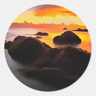 Illustration simulée de la peinture, sticker rond