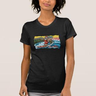 Illustration surfante hawaïenne de Père Noël de T-shirt