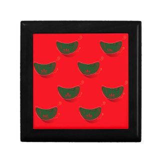 Illustration tirée par la main d'art : Rouge vert Petite Boîte À Bijoux Carrée