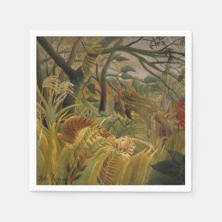 Illustration tropicale d'impression d'art de tigre serviettes jetables