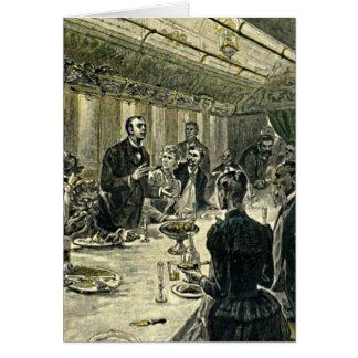 Illustration victorienne de cru de dîner carte de vœux