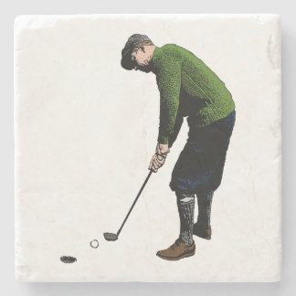 Illustration vintage colorée de photo de golfeur dessous-de-verre en pierre