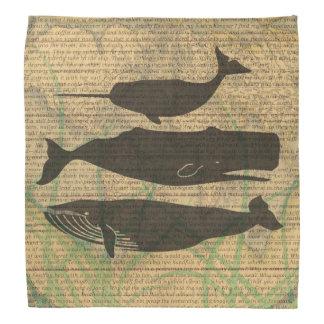 Illustration vintage de baleine antique rustique bandana