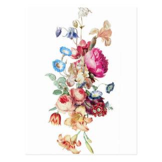 Illustration vintage de bouquet floral cartes postales