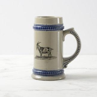 Illustration vintage de chèvre domestique - chope à bière