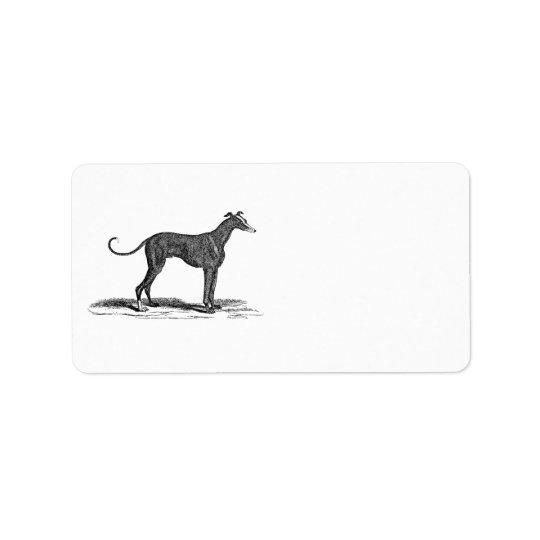 Illustration vintage de chien de lévrier de 1800s étiquettes d'adresse
