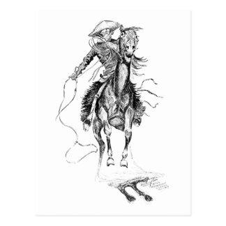 Illustration vintage de cowboy et de cheval carte postale