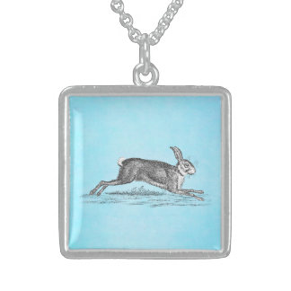 Illustration vintage de lapin de lièvres - lapins pendentif carré