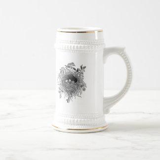 Illustration vintage de nid d'oiseau mugs à café