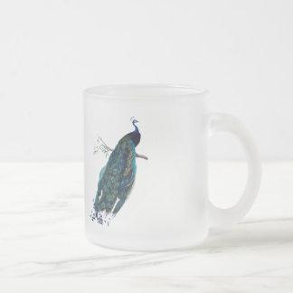 Illustration vintage de paon mug en verre givré