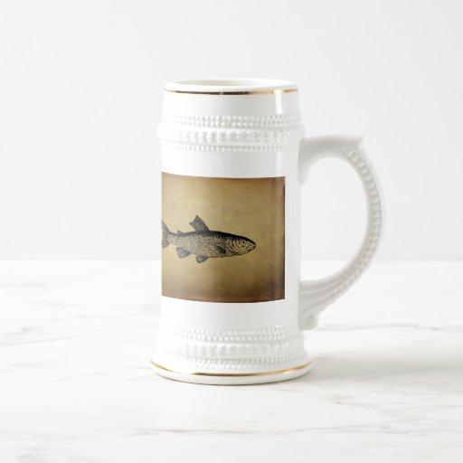 Illustration vintage de poissons tasse à café