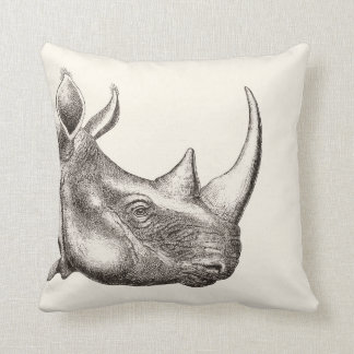 Illustration vintage de rhinocéros coussin