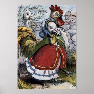 """Illustration vintage de """"vieille oie de mère"""" poster"""