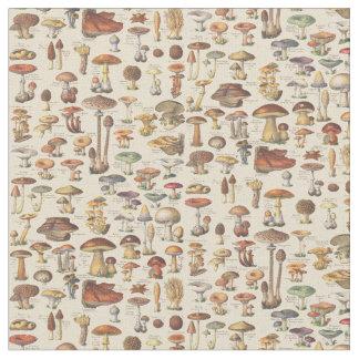 Illustration vintage des champignons tissu