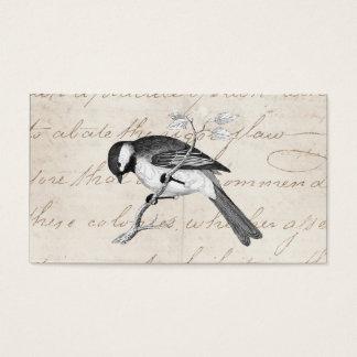 Illustration vintage d'oiseau de chanson - texte cartes de visite