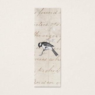 Illustration vintage d'oiseau de chanson - texte mini carte de visite