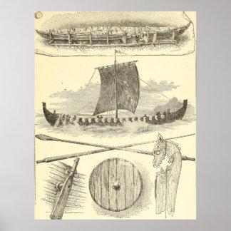 Illustration vintage et illustrations de Vikings Poster