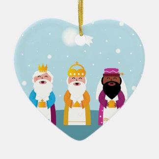 Illustrations originales de trois rois ornement cœur en céramique