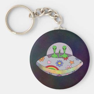 Ils viennent dans l'UFO de paix Porte-clé Rond