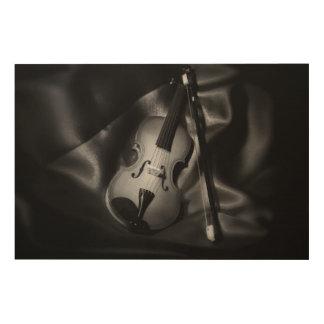 image de b&W de l'Encore-vie d'un violon Impression Sur Bois