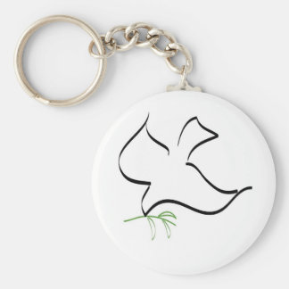 Image de colombe et de branche d'olivier porte-clé rond