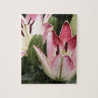 Image de deux lis et bourgeons asiatiques de puzzle