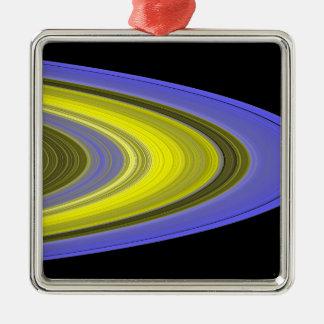 image de Faux-couleur des anneaux de Saturn Ornement Carré Argenté