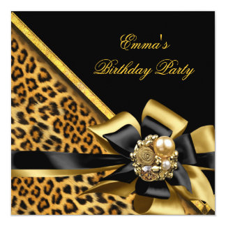 Image de léopard de noir d'or de fête carton d'invitation  13,33 cm