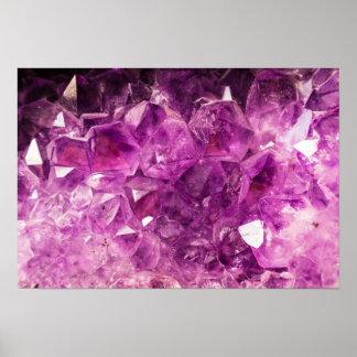 Image de pierre gemme d'améthyste brillante et affiche