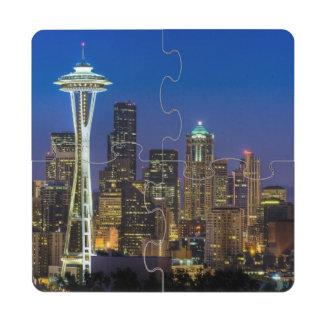 Image d'horizon de Seattle en quelques heures de Dessous De Verre Puzzle