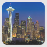 Image d'horizon de Seattle en quelques heures de m Sticker Carré
