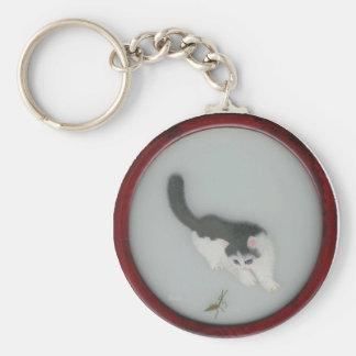 Image en soie chinoise de chat porte-clé rond