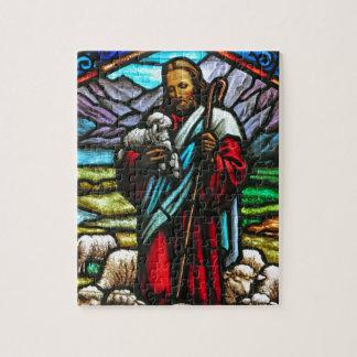 Image en verre souillé de Jésus et des agneaux Puzzle