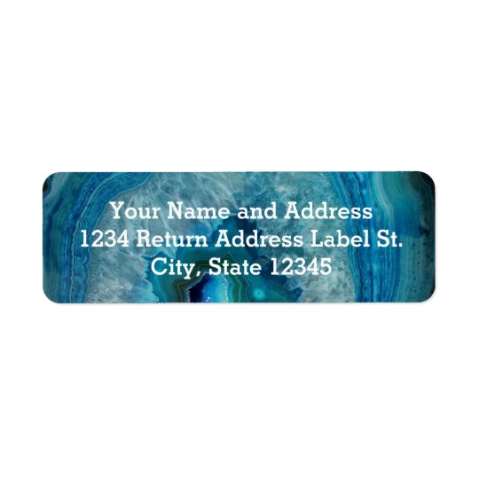 Image minérale de cristal d'agate de roche bleue étiquette d'adresse retour