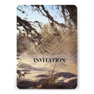 Image renversante de scène de rivière d'hiver invitations personnalisées