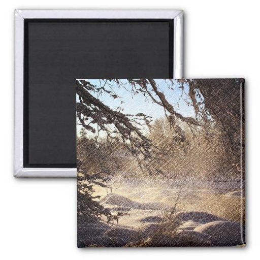 Image renversante de scène de rivière d'hiver aimant