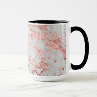Image rose de texture de marbre de scintillement mug