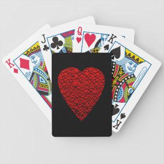 Image rouge lumineuse de coeur jeu de cartes