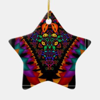 Image symétrique de fractale dans le cadre en ornement étoile en céramique