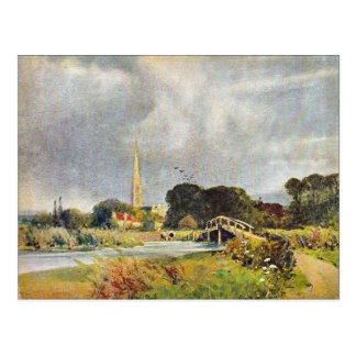 Image vintage, cathédrale de Salisbury et rivière, Carte Postale