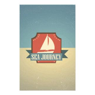 Image vintage de bateau. Message de voyage de mer Prospectus En Couleur