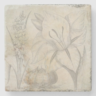 Image vintage de conception de fleur dessous-de-verre en pierre