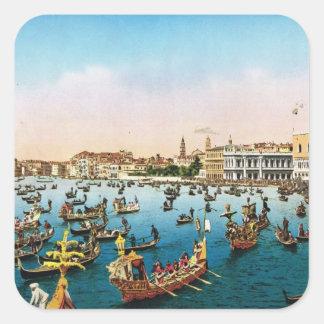 Image vintage de reproduction, Venise 1910 Sticker Carré