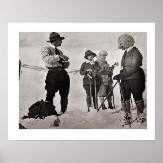 Image vintage de ski, grand usage de ski poster