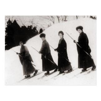 Image vintage de ski, quatre dames japonaises carte postale