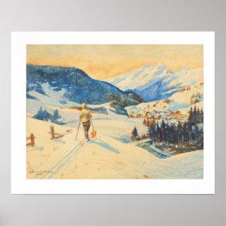 Image vintage de ski, ski de pays croisé poster