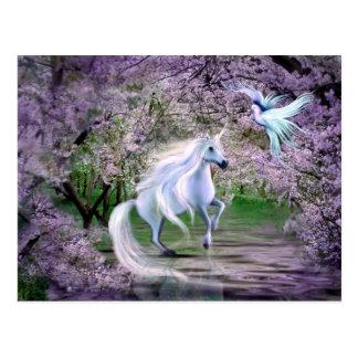 Imaginaire de licorne de ressort carte postale