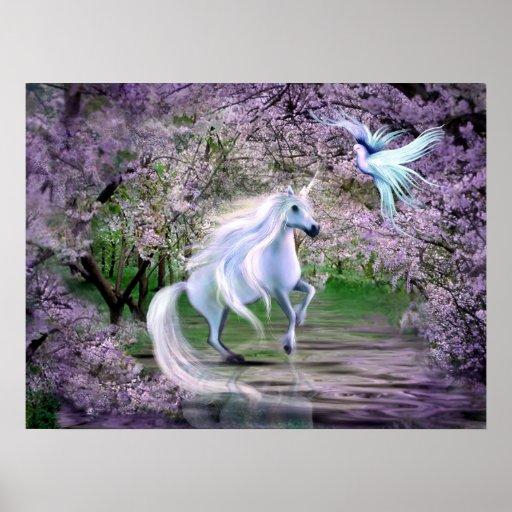 Imaginaire de licorne de ressort affiches