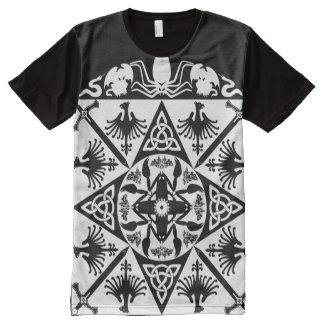 Imaginaire médiéval celtique blanc noir t-shirt tout imprimé