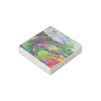 Imaginaire tropical abstrait magnet en pierre
